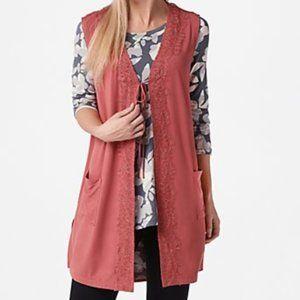 LOGO Rayon 230 Vest with Lace Trim & Tie Front